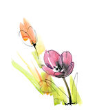 De samenvatting schilderde bloemenachtergrond Royalty-vrije Stock Afbeeldingen