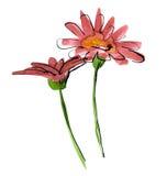 De samenvatting schilderde bloemenachtergrond royalty-vrije illustratie