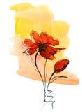 De samenvatting schilderde bloemenachtergrond Stock Fotografie