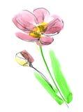 De samenvatting schilderde bloemenachtergrond Royalty-vrije Stock Foto