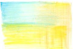 De samenvatting schilderde geelgroene en blauwe waterverfachtergrond Royalty-vrije Stock Afbeeldingen