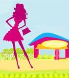 De samenvatting silhouetteert meisje het Winkelen Royalty-vrije Stock Foto's