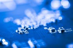 De samenvatting, sluit omhoog van de Elektronische computerachtergrond van Mainboard logicaraad, cpu-motherboard, Hoofdraad, syst stock afbeeldingen
