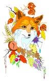 De samenvatting stileerde leuke vos met de herfstdecoratie en verlaat vectorillustartion geïsoleerd Royalty-vrije Stock Foto