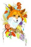 De samenvatting stileerde leuke vos met de herfstdecoratie en verlaat vectorillustartion geïsoleerd Royalty-vrije Stock Afbeelding