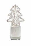De samenvatting telegrafeerde de boom van metaalKerstmis in klein glas Stock Afbeeldingen