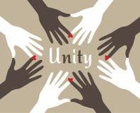 De Samenvatting van de Handen van de eenheid royalty-vrije illustratie