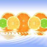 De Samenvatting van de sinaasappel, van de Citroen en van de Kalk Stock Foto