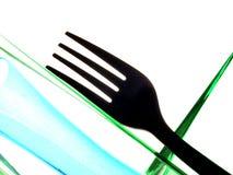 De Samenvatting van de vork en van de Fles Stock Foto's