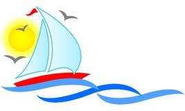 De Samenvatting van de zeilboot Stock Afbeeldingen