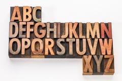 De samenvatting van het alfabet in houten type Royalty-vrije Stock Afbeelding