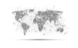De samenvatting van het de wetenschapsconcept van de wereldkaart op witte achtergrond Royalty-vrije Stock Foto
