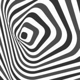 De samenvatting verdraaide zwart-witte achtergrond Optische illusie van vervormde oppervlakte Verdraaide strepen Gestileerde 3d t stock illustratie