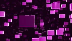 De samenvatting voorzag geanimeerde die achtergrond op de beweging van purper-violette kubussen van kristallen wordt gebaseerd di stock footage
