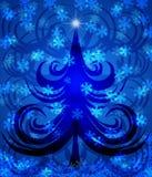 De samenvatting wervelt Kerstboom op Blauwe Achtergrond Royalty-vrije Stock Fotografie