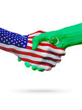 De samenwerking van het de vlaggenconcept van de V.S. en Turkmenistan, zaken, de sportenconcurrentie royalty-vrije illustratie