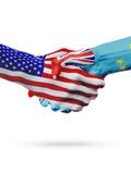 De samenwerking van het de vlaggenconcept van de V.S. en Tuvalu, zaken, de sportenconcurrentie vector illustratie
