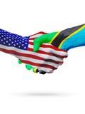 De samenwerking van het de vlaggenconcept van de V.S. en van Tanzania, zaken, de sportenconcurrentie royalty-vrije illustratie