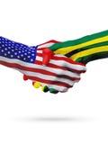De samenwerking van het de vlaggenconcept van de V.S. en van Togo, zaken, de sportenconcurrentie royalty-vrije illustratie