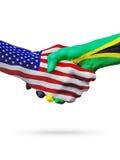 De samenwerking van het de vlaggenconcept van Verenigde Staten en Jamaïca-, zaken, de sportenconcurrentie stock illustratie