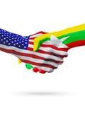 De samenwerking van het de vlaggenconcept van Verenigde Staten en Myanmar, zaken, de sportenconcurrentie vector illustratie