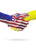 De samenwerking van het de vlaggenconcept van Verenigde Staten en Niue-, zaken, de sportenconcurrentie stock illustratie