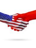 De samenwerking van het de vlaggenconcept van Verenigde Staten en van Albanië, zaken, de sportenconcurrentie royalty-vrije illustratie