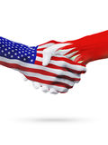 De samenwerking van het de vlaggenconcept van Verenigde Staten en van Bahrein, zaken, de sportenconcurrentie stock illustratie