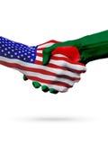 De samenwerking van het de vlaggenconcept van Verenigde Staten en van Bangladesh, zaken, de sportenconcurrentie vector illustratie