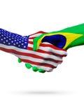 De samenwerking van het de vlaggenconcept van Verenigde Staten en van Brazilië, zaken, de sportenconcurrentie vector illustratie