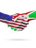 De samenwerking van het de vlaggenconcept van Verenigde Staten en van Burundi, zaken, de sportenconcurrentie vector illustratie