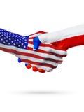 De samenwerking van het de vlaggenconcept van Verenigde Staten en van Chili, zaken, de sportenconcurrentie royalty-vrije illustratie