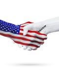 De samenwerking van het de vlaggenconcept van Verenigde Staten en van Cyprus, zaken, de sportenconcurrentie royalty-vrije illustratie