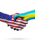 De samenwerking van het de vlaggenconcept van Verenigde Staten en van de Bahamas, zaken, de sportenconcurrentie vector illustratie