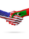 De samenwerking van het de vlaggenconcept van Verenigde Staten en van de Maldiven, zaken, de sportenconcurrentie stock illustratie