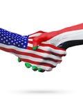 De samenwerking van het de vlaggenconcept van Verenigde Staten en van de Soedan, zaken, de sportenconcurrentie royalty-vrije illustratie