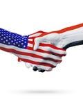 De samenwerking van het de vlaggenconcept van Verenigde Staten en van Egypte, zaken, de sportenconcurrentie royalty-vrije illustratie