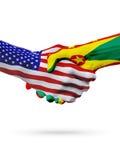 De samenwerking van het de vlaggenconcept van Verenigde Staten en van Grenada, zaken, de sportenconcurrentie stock illustratie