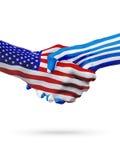 De samenwerking van het de vlaggenconcept van Verenigde Staten en van Griekenland, zaken, de sportenconcurrentie stock illustratie