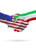 De samenwerking van het de vlaggenconcept van Verenigde Staten en van Iran, zaken, de sportenconcurrentie stock illustratie