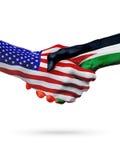 De samenwerking van het de vlaggenconcept van Verenigde Staten en van Jordanië, zaken, de sportenconcurrentie vector illustratie