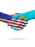 De samenwerking van het de vlaggenconcept van Verenigde Staten en van Kazachstan, zaken, de sportenconcurrentie vector illustratie
