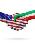 De samenwerking van het de vlaggenconcept van Verenigde Staten en van Koeweit, zaken, de sportenconcurrentie vector illustratie