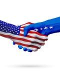 De samenwerking van het de vlaggenconcept van Verenigde Staten en van Kosovo, zaken, de sportenconcurrentie royalty-vrije illustratie