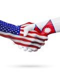 De samenwerking van het de vlaggenconcept van Verenigde Staten en van Nepal, zaken, de sportenconcurrentie royalty-vrije illustratie