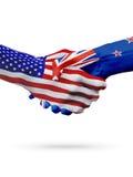 De samenwerking van het de vlaggenconcept van Verenigde Staten en van Nieuw Zeeland, zaken, de sportenconcurrentie vector illustratie