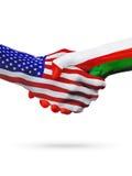 De samenwerking van het de vlaggenconcept van Verenigde Staten en van Oman, zaken, de sportenconcurrentie vector illustratie