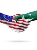 De samenwerking van het de vlaggenconcept van Verenigde Staten en van Pakistan, zaken, de sportenconcurrentie royalty-vrije illustratie