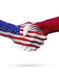 De samenwerking van het de vlaggenconcept van Verenigde Staten en van Qatar, zaken, de sportenconcurrentie stock illustratie