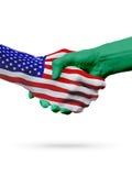 De samenwerking van het de vlaggenconcept van Verenigde Staten en van Saudi-Arabië, zaken, de sportenconcurrentie royalty-vrije illustratie
